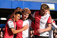Jamie Philpot (C) of Woking celebrates his goal in the first half with team mates during Woking vs Bury, Emirates FA Cup Football at The Laithwaite Community Stadium on 5th November 2017