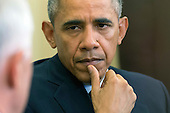 United States President Barack Obama listens as Prime Minister Malcolm Turnbull of Australia speaks to the media prior to a meeting in the Oval Office at the White House on Washington, D.C. on January 19, 2016.<br /> Credit: Kevin Dietsch / Pool via CNP