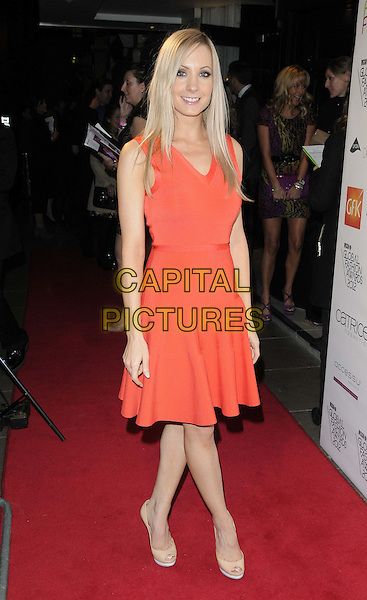 Joanne Froggatt.The WGSN Global Fashion Awards, Savoy Hotel, The Strand, London, England..November 5th, 2012.full length orange dress sleeveless  .CAP/CAN.©Can Nguyen/Capital Pictures.