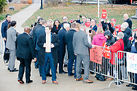 Vice President Mike Pence greets a small crowd of Trump supporters outside the New Hampshire State House in Concord, New Hampshire, on Thu., November 7, 2019. Pence traveled to New Hampshire as a surrogate for Donald Trump to file required paperwork for the president to get on the New Hampshire presidential primary ballot in 2020. The required documents include a filing form signed by the candidate and a $1000 filing fee.