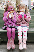 NO REPRO FEE. 6/3/2011. RUSSIAN CULTURAL FESTIVAL. Daniella Martsepa 5 and Lidija Jupatova 5 are pictured eating crepes at the Festival of Russian Culture family day at Cows Lane , Temple Bar, Dublin. Picture James Horan/Collins Photos
