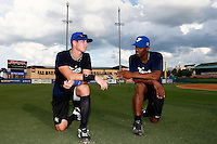 18 September 2012: France Emmanuel Garcia and Sneideer Santos are seen during Team France practice, at the 2012 World Baseball Classic Qualifier round, in Jupiter, Florida, USA.