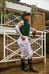 ARCADIA, CA - MARCH 10: Javier Castellano awaits the results of a stewards inquiry after the San Felipe Stakes at Santa Anita Park on March 10, 2018 in Arcadia, California. (Photo by Alex Evers/Eclipse Sportswire/Getty Images)