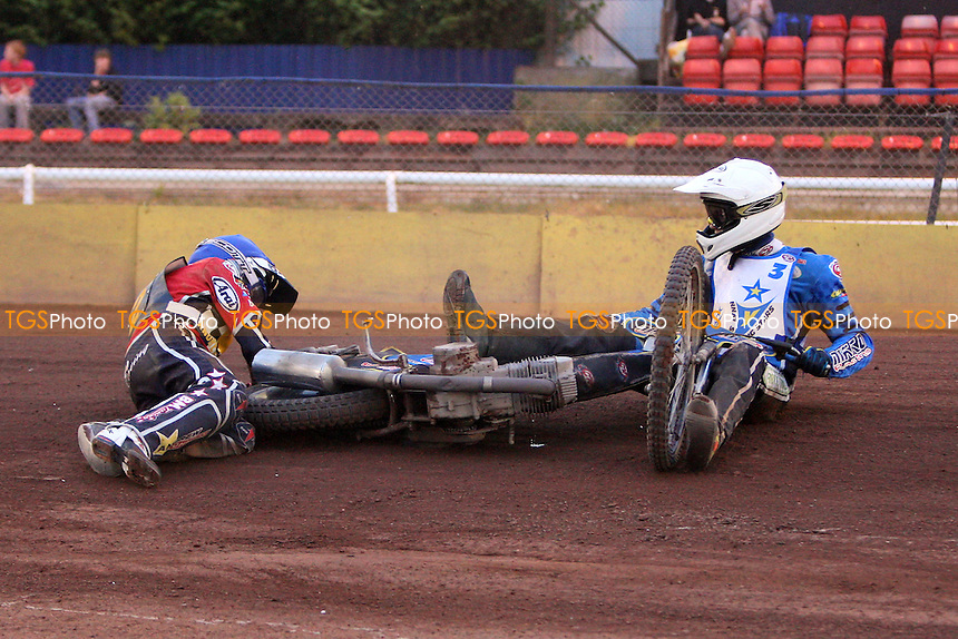Heat 10: Ben Morley (blue) and Lewis Kerr crash out - Hackney Hawks vs King's Lynn Young Stars - National League Speedway at Rye House - 07/05/11 - MANDATORY CREDIT: Gavin Ellis/TGSPHOTO - Self billing applies where appropriate - Tel: 0845 094 6026