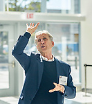 Lab Photos, Chicago Ideas Week: Mitch Hirsch of Pelli Clarke Pelli Architects, during a tour of the Wintrust Arena. As part of DePaul's sponsorship of Chicago Ideas Week, the university hosted a Lab on Oct. 19, 2017. The event gave participants a behind-the-scenes tour of Wintrust Arena led by the building's architects - from Pelli Clarke Pelli Architects and Moody Nolan - and Bob Janis, vice president of Facilities Operations. The event reached its capacity for tickets sold, and 32 people attended. Participants also heard from representatives from DePaul Athletics and the Metropolitan Pier and Exposition Authority, watched part of a men's basketball practice, walked onto the basketball court and took shots on the new hoops. The tour was part of the week-long, citywide series of events bringing thinkers and instigators together to share ideas and make an impact in the world. (Handout Photos by Chicago Ideas Week)