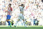 Real Madrid's Daniel Carvajal and Atletico de Madrid's Filipe Luis during La Liga match between Real Madrid and Atletico de Madrid at Santiago Bernabeu Stadium in Madrid, April 08, 2017. Spain.<br /> (ALTERPHOTOS/BorjaB.Hojas)