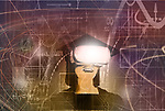 Concept image of a smiling woman graduate wearing virtual reality goggles in a background of mathematical formulas depicting the use of technology in education