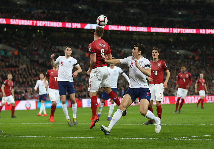 Czech Republic's Tomas Kalas clears from England's Harry Maguire<br /> <br /> Photographer Rob Newell/CameraSport<br /> <br /> UEFA Euro 2020 Qualifying round - Group A - England v Czech Republic - Friday 22nd March 2019 - Wembley Stadium - London<br /> <br /> World Copyright © 2019 CameraSport. All rights reserved. 43 Linden Ave. Countesthorpe. Leicester. England. LE8 5PG - Tel: +44 (0) 116 277 4147 - admin@camerasport.com - www.camerasport.com
