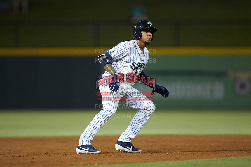 Johan Camargo (17) of the Gwinnett Stripers takes his lead off of second base against the Scranton/Wilkes-Barre RailRiders at Coolray Field on August 17, 2019 in Lawrenceville, Georgia. The Stripers defeated the RailRiders 8-7 in eleven innings. (Brian Westerholt/Four Seam Images)