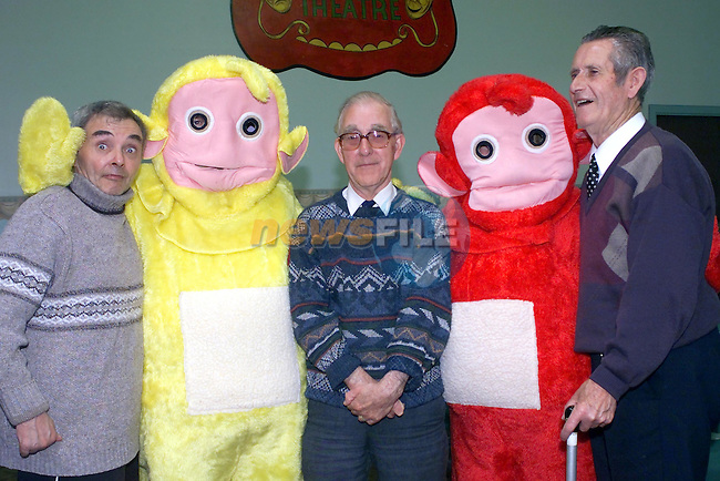 John Duffy, Gerry Byrne and Mick Dowd aith the tellytubbies in the community centre..Picture Fran Caffrey Newsfile...This Picture is sent to you by:..Newsfile Ltd.The View, Millmount Abbey, Drogheda, Co Louth, Ireland..Tel: +353419871240.Fax: +353419871260.GSM: +353862500958.ISDN: +353419871010.email: pictures@newsfile.ie.www.newsfile.ie