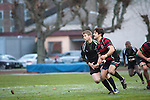 FRANKFURT, GERMANY - DECEMBER 01: North Sea Cup rugby match between SC Frankfurt 1880 (red-black) and Kituro Schaerbeck (black) at the SC Frankfurt 1880 sports ground on December 01, 2012 in Frankfurt, Germany. The match ended 19-15. (Photo by Dirk Markgraf)
