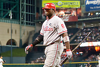 Philadelphia Phillies first baseman Ryan Howard #6 walks back to the dugout after striking out Major League Baseball game against the Houston Astros at Minute Maid Park in Houston, Texas on September 12, 2011. Houston defeated Philadelphia 5-1.  (Andrew Woolley/Four Seam Images)