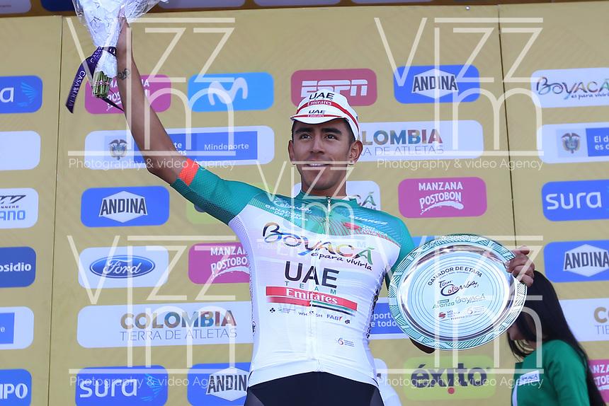 TUNJA - COLOMBIA, 13-02-2020: Juan Sebastian Molano Benavides (COL) UAE TEAM EMIRATES, gana la tercera etapa del Tour Colombia 2.1 2020 con un recorrido de 177,7 km que se corrió entre Paipa y Sogamoso, Boyacá. /  Juan Sebastian Molano Benavides (COL) UAE TEAM EMIRATES wins the third stage of 177,7 km as part of Tour Colombia 2.1 2020 that ran between Paipa and Sogamoso, Boyaca.  Photo: VizzorImage / Darlin Bejarano / Cont