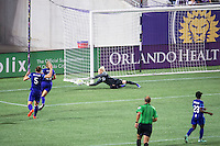 Orlando, Florida - Saturday, April 23, 2016: Orlando Pride goalkeeper Ashlyn Harris (1) makes a save during an NWSL match between Orlando Pride and Houston Dash at the Orlando Citrus Bowl.