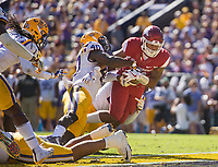 NWA Democrat-Gazette/BEN GOFF @NWABENGOFF<br /> Devwah Whaley, Arkansas running back, scores a touchdown as Devin White (40) of LSU tries to bring him down in the second quarter Saturday, Nov. 11, 2017 at Tiger Stadium in Baton Rouge, La.