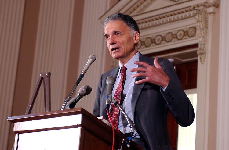 nader6_080702 -- Ralph Nader, consumer advocate, addresses congressional interns on Congress and the corporate crime wave.