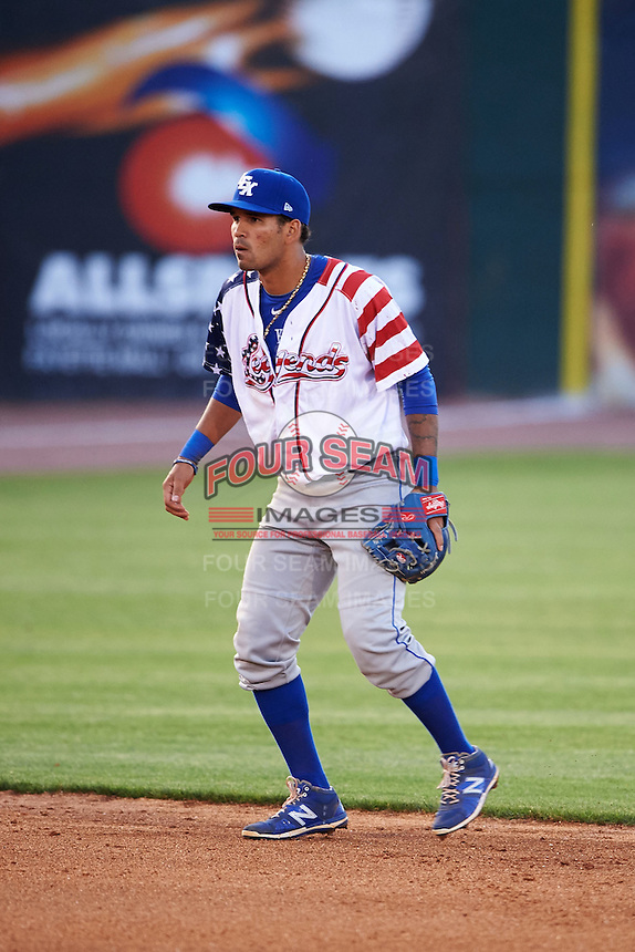 Lexington Legends shortstop Humberto Arteaga (23) during a game against the Hagerstown Suns on May 22, 2015 at Whitaker Bank Ballpark in Lexington, Kentucky.  Lexington defeated Hagerstown 5-1.  (Mike Janes/Four Seam Images)