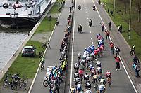 Peloton besides the canal on the local laps in Schoten<br /> <br /> 105th Scheldeprijs 2017 (1.HC)<br /> 1day race: Mol > Schoten 200km