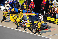 Oct 4, 2008; Talladega, AL, USA; NASCAR Craftsman Truck Series driver Todd Bodine pits during the Mountain Dew 250 at the Talladega Superspeedway. Mandatory Credit: Mark J. Rebilas-