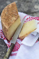 France, Aquitaine, Pyrénées-Atlantiques, Pays Basque,  Ainhoa: Fromage de brebis basque Ardi-Gasna 18 mois  à a Maison Oppoca Hôtel-Restaurant //  France, Pyrenees Atlantiques, Basque Country ,  Basque sheep cheese Ardi-Gasna 18 months old,  Oppoca House Hotel Restaurant