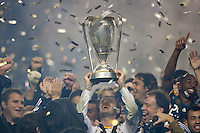 CARSON, CA - November 20, 2011: LA Galaxy midfielder David Beckham (23) and teammates celebrate their championship after the MLS Cup match between LA Galaxy and Houston Dynamo at the Home Depot Center in Carson, California. Final score LA Galaxy 1, Houston Dynamo 0.