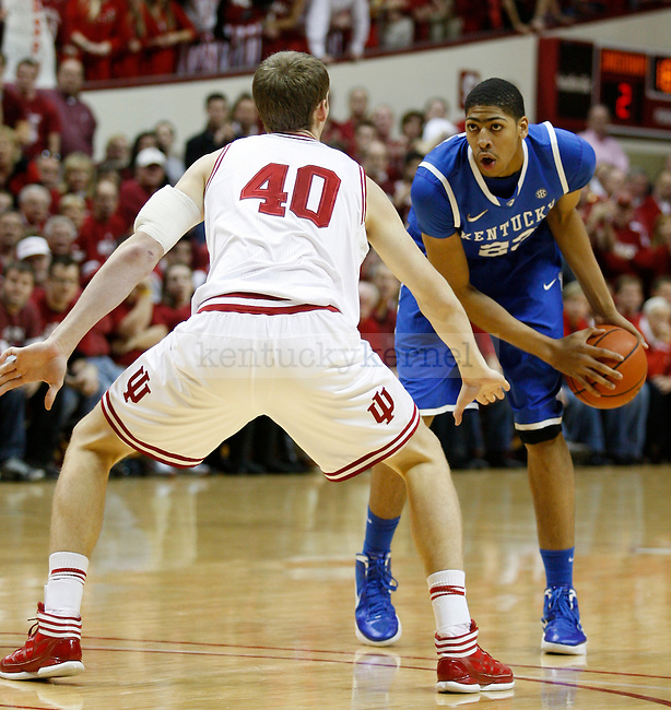Cody Zeller guards Anthony Davis in the first half of UK versus Indiana University game on Saturday, Dec. 10, 2011 in Assembly Hall. Kentucky lost 73-72. Photo by Latara Appleby | Staff ..