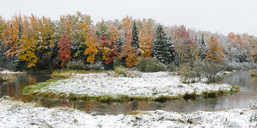 First snow and fall colors in Marquette County. 10/5/2018