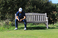 Neil Manchip (Irish National Coach) checking the scores during Round 1 Singles of the Men's Home Internationals 2018 at Conwy Golf Club, Conwy, Wales on Wednesday 12th September 2018.<br /> Picture: Thos Caffrey / Golffile<br /> <br /> All photo usage must carry mandatory copyright credit (© Golffile | Thos Caffrey)