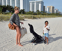 www.acepixs.com<br /> <br /> January 3 2017, Miami Beach, Fl<br /> <br /> Former Victoria's Secret model Doutzen Kroes and her kids son Phyllon, five, and daughter Myllena, two enjoyed the winter sunshine on the beach on January 3 2017 in Miami, Fl<br /> <br /> By Line: Solar/ACE Pictures<br /> <br /> ACE Pictures Inc<br /> Tel: 6467670430<br /> Email: info@acepixs.com<br /> www.acepixs.com
