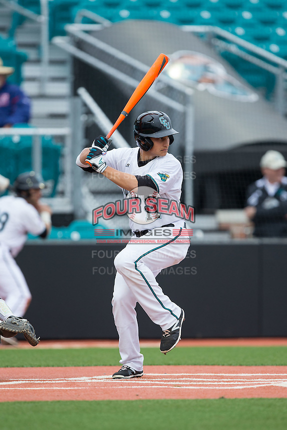 Al Molina (11) of the Coastal Carolina Chanticleers at bat against the Bryant Bulldogs at Springs Brooks Stadium on March 13, 2015 in Charlotte, North Carolina.  The Chanticleers defeated the Bulldogs 7-2.  (Brian Westerholt/Four Seam Images)