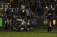 Stuart McCloskey of Ulster scores his sides first try during the Guinness Pro14 Round 15 match between the Ospreys and Ulster Rugby at Morganstone Brewery Field in Bridgend, Wales, UK. Friday 15 February 2019
