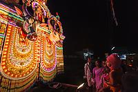 Asia,India,Kerala,Uthralikavu,Elephant Pooram, celebrations the night before the the festival