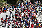 The peloton in action during Stage 9 of the La Vuelta 2018, running 200.8km from Talavera de la Reina to La Covatilla, Spain. 2nd September 2018.<br /> Picture: Unipublic/Photogomezsport | Cyclefile<br /> <br /> <br /> All photos usage must carry mandatory copyright credit (&copy; Cyclefile | Unipublic/Photogomezsport)