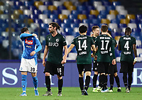 1st December 2019; Stadio San Paolo, Naples, Campania, Italy; Serie A Football, Napoli versus Bologna; Bologna players celebrate their 2nd and winning goal from Nicola Sansone in the 80th minute for 1-2 - Editorial Use