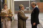 Winston Churchill MP, British politician 1986. Chatting with a member of the public in his Stretford constituency Manchester.
