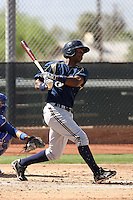 Brandon Jones of the Milwaukee Brewers plays in a spring training game against the Los Angeles Dodgers at the Brewers complex on April 2, 2011 in Phoenix, Arizona. .Photo by:  Bill Mitchell/Four Seam Images.