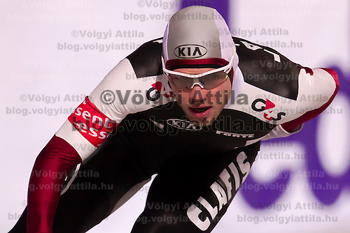 Latvia's Haralds Silovs competes in the Men's 10000m race of the Speed Skating All-round European Championships in Budapest, Hungary on January 8, 2012. ATTILA VOLGYI