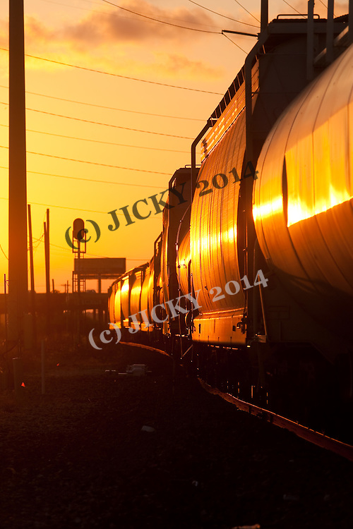 Freight train drives into sunset.