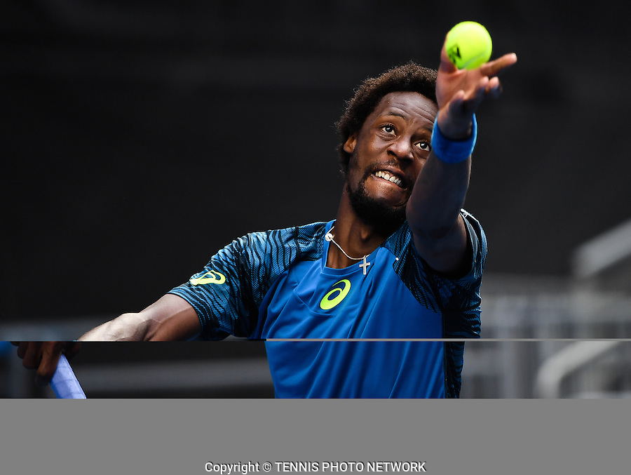 GAEL MONFILS (FRA)<br /> <br /> TENNIS , AUSTRALIAN OPEN,  MELBOURNE PARK, MELBOURNE, VICTORIA, AUSTRALIA, GRAND SLAM, HARD COURT, OUTDOOR, ITF, ATP, WTA<br /> <br /> &copy; TENNIS PHOTO NETWORK