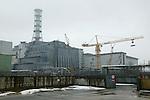 Chernobyl Shelter. Exclusion zone of 10 km around the Chernobyl plant..Chernobyl, Ukrainia..Tchernobyl, Ukraine. Sarcophage de tchernobyl.  Zone d'exclusion des 10 km autour de la centrale de Tchernobyl..