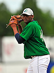 22 June 2009: Vermont Lake Monsters' pitcher Johan Figuereo warms up prior to facing the Tri-City ValleyCats at Historic Centennial Field in Burlington, Vermont. The Lake Monsters defeated the visiting ValleyCats 5-4 in extra innings. Mandatory Photo Credit: Ed Wolfstein Photo