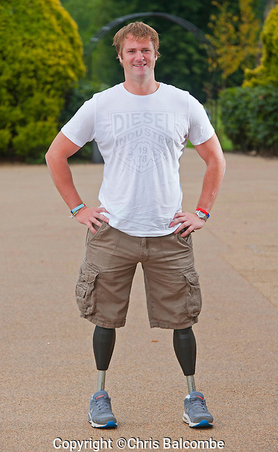 Commissioned shoot for The Sun (UK)<br /> Help For Heroes campaign<br /> <br /> Pictured at Tedworth House, in Tidworth, Wiltshire is double leg amputee Neil Heritage<br /> Neil Heritage, 33,  lost both legs when a suicide bomber detonated a massive car bomb, on November 7th, 2004.<br /> <br /> Pic: Chris Balcombe<br /> <br /> 07568 098176<br /> Office: 023 80 849187
