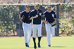 Jacoby Ellsbury, Ichiro Suzuki, Carlos Beltran  (Yankees),<br /> FEBRUARY 20, 2014 - MLB : (L-R) Jacoby Ellsbury, Ichiro Suzuki and Carlos Beltran of the New York Yankees during the Yankees spring training baseball camp at George M. Steinbrenner Field in Tampa, Florida, United States.<br /> (Photo by Thomas Anderson/AFLO) (JAPANESE NEWSPAPER OUT)