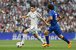 Real Madrid´s James Rodriguez (L) and Juventus´s Pirlo during the Champions League semi final soccer match between Real Madrid and Juventus at Santiago Bernabeu stadium in Madrid, Spain. May 13, 2015. (ALTERPHOTOS/Victor Blanco)