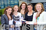 Junior Cert student from Mercy Mounthawk, Tralee after receiving their results on Wednesday from left Louise O'Connor, Laura Lynch, Ellie Scanlon, Laura Hoffman and Deirdre Kearney.