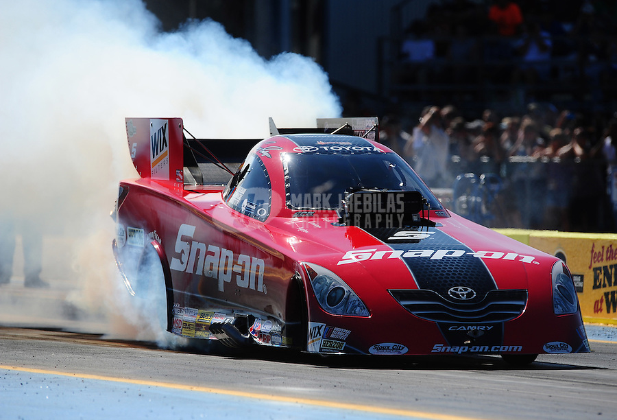 Sept. 23, 2011; Ennis, TX, USA: NHRA funny car driver Cruz Pedregon during qualifying for the Fall Nationals at the Texas Motorplex. Mandatory Credit: Mark J. Rebilas-