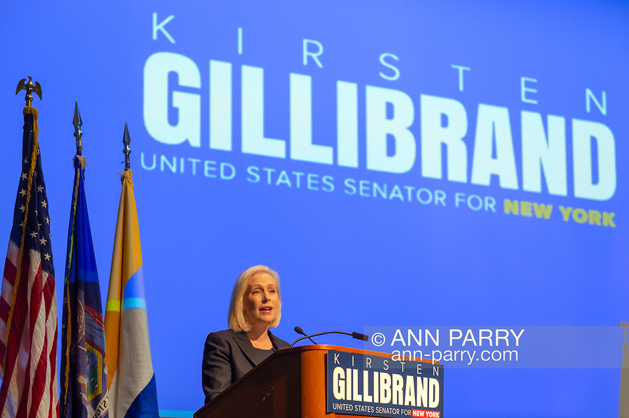 Hempstead New York, October 5, 2018. U.S. Senator Kirsten Gillibrand (D-NY) speaks at podium during Town Hall Meeting at Hofstra University on Long Island.  Supreme Court nominee Judge Kavanagh; opioid addiction crisis; abolishing ICE; immigration; and more were discussed. Sen. Gillibrand is up for re-election in midterm elections.