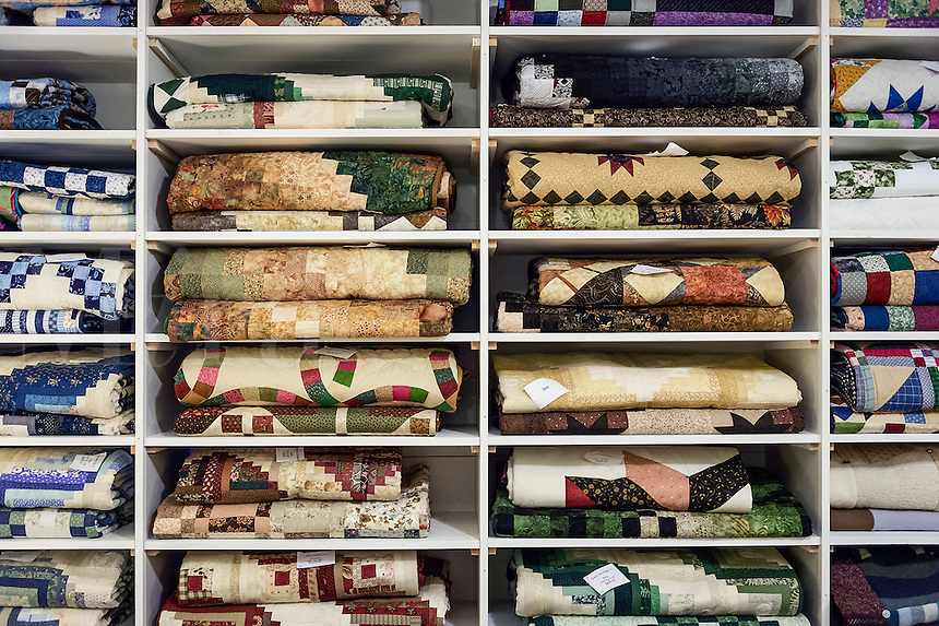Handmade quilt display  at the Country store, Newfane, Vermont, USA