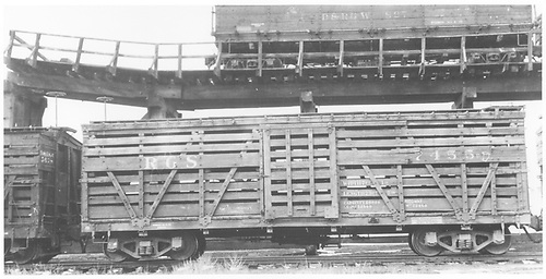 RGS stock car #7455 in Antonito.  This was eventually (by 1951) converted to a flat car.<br /> RGS  Antonito, CO  Taken by Maxwell, John W. - 1/18/1946