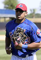 April 1, 2004:  Juan Rivera of the Montreal Expos (Washington Nationals) organization during Spring Training at Osceola County Stadium in Kissimmee, FL.  Photo copyright Mike Janes/Four Seam Images